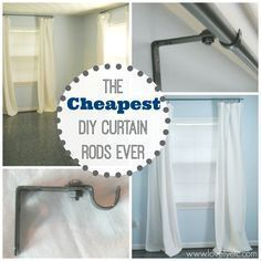 The cheapest DIY curtain rods ever - Lovely Etc. ♥ an awesome idea! ♥ http://www.lovelyetc.com/2012/10/the-cheapest-diy-curtain-rods-ever/