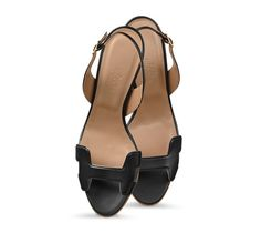 """Night 70 Hermes ladies' sandal in black nappa leather with tone on tone stitching and hazelnut lining. Measurement: 1/4"""" permabrass buckle, 2.75"""" heel"""