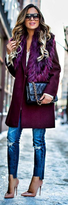 45 Fashionable Winter Outfits You Must Have Fall Winter Outfits, Autumn Winter Fashion, Topshop Style, Topshop Fashion, Fasion, Fashion Outfits, Fashion Women, Look Blazer, Purple Coat
