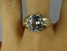 Cool Vintage Leaf Side Yellow Gold Aquamarine and by MSJewelers, $1285.00
