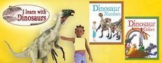 I Learn with Dinosaurs series (Crabtree Publishing) This series for first readers uses amazing dinosaur illustrations to teach simple concepts such as the alphabet, colors, numbers, and shapes. Full-spread artwork and brief text engage young readers and put them side by side with the dinosaurs they love. #reading