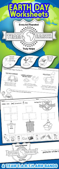 Earth Day Worksheets - Activities - Kindergarten - First Grade - Classroom Ideas - Recycle - Reduce - Reuse - April 22