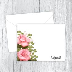 Pink Roses Personalized Note Cards Matte Medium, Small Letters, Personalized Note Cards, White Envelopes, Pink Roses, Pretty In Pink, Card Stock, Birthday Gifts, Great Gifts