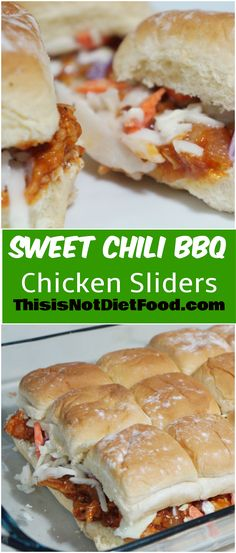 Sweet Chili BBQ Chicken Sliders. Mini chicken sandwiches are a great party snack or easy dinner option.