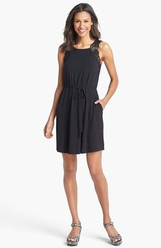 Caslon® Lace Shoulder Knit Dress available at #Nordstrom