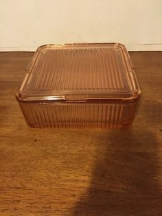 Pink Depression Glass 8.5 Square Refrigerator Dish with Lid.