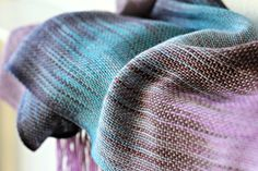 <p>Hand woven scarf made in pooling technique. This means that color is gradually changes from turquoise to brown and violet with light silver shine. It remind me the star ... #kgthreads