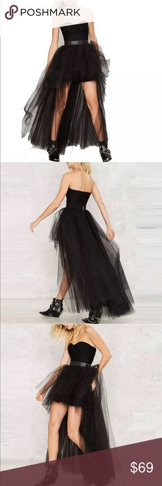 Black tulle high low skirt prom cover up dress NWT Sexy tulle long in the back short in front wear for prom party festival parade club dance party costume dress vixen bombshell bikini swimsuit romper lingerie corset tie lace boho bohemian goth gothic Lolita wedding dress dollbaby dollskill retro chic skirt only (bodysuit available in my boutique) tulle puffy mesh fishnet elastic bandage stretchy Skirts High Low
