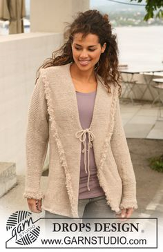 "DROPS jacket in stocking st in ""Nepal"" with crochet borders in ""Puddel"". Size S-XXXL."