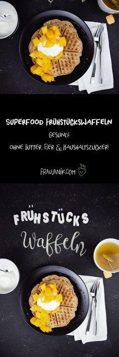 Gesunde Superfood Frühstückswaffeln- ohne Butter, Eier & Haushaltszucker... Die können es locker mit Brot und Müsli aufnehmen ;-) Unbedingt mal ausprobieren! :-)