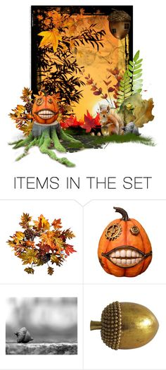 """""""Happy Fall!"""" by alodo ❤ liked on Polyvore featuring art, Fall, squirrel, leaves, pumpkin and laughingnabaa"""