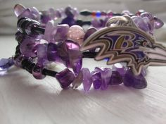 bracelet beads ravens | Wrapping it up Ravens style wrap bracelet football fan purple black ...