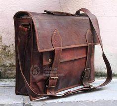 Mens vintage genuine leather messenger laptop bag computer briefcase bag 17 inch #Handmade #MessengerShoulderBag