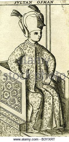 Osman II., 3.11.1604 - 20.5.1622, Sultan of the Ottoman Empire 26.2.1618 - 20.5.1622, full length, sitting, engraving, - Stock Image
