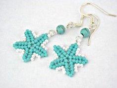 free patterns: herringbone earrings | Turquoise blue sea star herringbone earrings