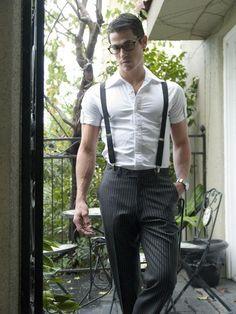 40 Handsome Men Looks with Suspenders Suspenders Outfit, Black Suspenders, Pinstripe Pants, Herren Outfit, Gentleman Style, Men Looks, Swagg, Nice Dresses, Well Dressed