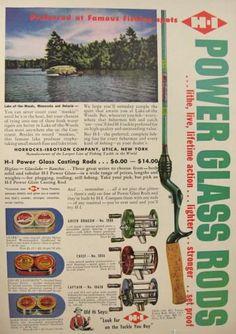1953 H-I Power Glass fishing rod ad.