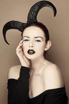 black crystal ram horn headdress
