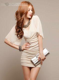 Celebrity Best Quality Soft Comfortable Slim Chiffon Half Sleeve Dress : Tidebuy.com