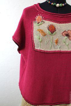 Купить Бохо джемпер Вишнёвая Ботаника из хлопка - бордовый, цветочный, джемпер вязаный, джемпер женский