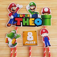topo de bolo super mario #bolomario #bolosupermario #festamario #mariobros Bolo Super Mario, Mario E Luigi, Yoshi, Character, Hillbilly Party, Templates, Fiestas, Lettering