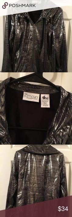 Silver metallic jacket 0 Nice fun metallic jacket light weight by Chico Zenergy Size 0 or 4 Chico's Jackets & Coats