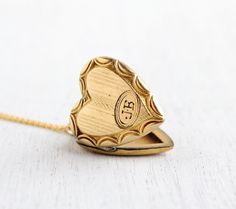 Vintage Heart Locket Necklace - Gold Filled 1940s Sweetheart Monogrammed JB Late Art Deco Era Jewelry