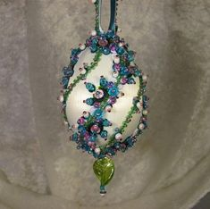 Beaded Easter Ornament Kit Madison by Glimmertree. Sequin Ornaments, Beaded Ornament Covers, Beaded Christmas Ornaments, Handmade Ornaments, Christmas Balls, Handmade Christmas, Christmas Ideas, Egg Crafts, Xmas Crafts