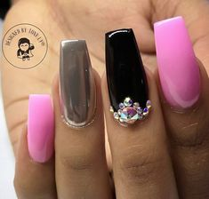 Square Nails. Nails With Rhinestones. Black and Pink Nails. Chrome Nails. Acrylic Nails. Gel Nails.