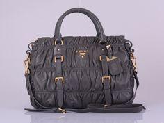 ea2d8c7da1ab Prada BN1336 Nappa Guafre Leather Grey Handbags Prada Tote