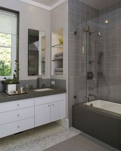 Bathroom:Terrific Small Bathroom Idea Combination Vanity Gray Countertop Completed White Sink Also White Pot White Wall And Small Mirror Glass Applying Open Shelves Using Gray Shower Wall Tile And White Bathtub Surprising Small Bathroom with White Bathtub Decoration and Glass Door Design