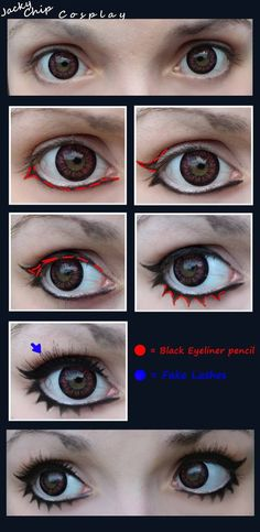 Cosplay Make-Up Tutorial [Female Eyes] by JackyChip on deviantART - I like the idea of drawing on the anime lashes. Cosplay Tutorial, Cosplay Diy, Cosplay Makeup, Costume Makeup, Halloween Cosplay, Anime Cosplay, Female Cosplay, Diy Tutorial, Fx Makeup