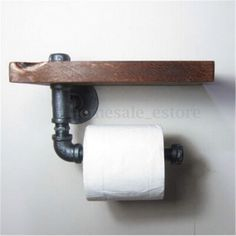 Schon Industrial Wall Mount Iron Pipe Toilet Paper Holder Roller Wood Shelf  5.3x5.9u0027u0027