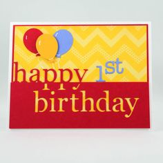 Happy 1st Birthday Card Handmade Childs Birthday Card by TrioCards, $4.50