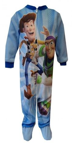 Disney Pixar Toy Story Woody & Buzz Toddler Footie Pajama, $19  What a pair of best friends! This flame resistant blanket sleeper for toddler boys is super soft and a lovely shade of light blue. The action image of Buzz Lightyear and Sheriff Woody is sure to please your little Toy Story fan! Machine washable and easy care.