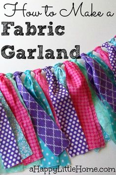 This would be a beautiful decoration - I know exactly what pretty fabrics I would use in this DIY garland! I could even choose the colors to make this a perfect birthday party decoration or holiday decoration. This DIY fabric garland is such an easy project and the result is so pretty! I can't wait to make one of these!!