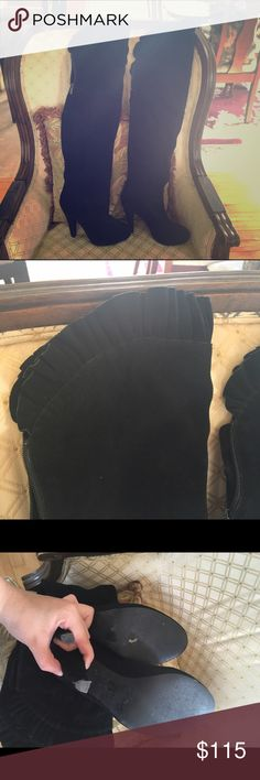 VS Over the Knee Stiletto Boots Worn once! In great condition, they've been sitting in my closet for years. They need a new home. Do not wear in the winter in the snow, but I think that's common sense! Victoria's Secret Shoes Over the Knee Boots