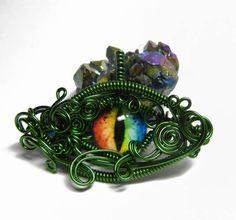 Green Wire Wrap Dragon Eye Pendant by Create-A-Pendant on DeviantArt