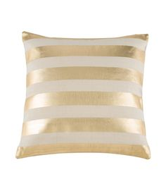 """Light up your living room or bed room with this Metallic Gold Stripe pillow. • Dimension: 20"""" x 20"""" • Filling: Polyester fiber"""