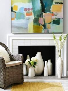 Light up a room without building a fire. Our warm-weather ideas for filling your empty fireplace box show you how. Light up a room without building a fire. Our warm-weather ideas for filling your empty fireplace box show you how. Fireplace Decor, Home Fireplace, Empty Fireplace Ideas, Room Decor, Decor, Home Living Room, Home, Faux Fireplace, Home Decor