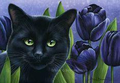 Cats Botanical Black Tulips Irina Garmashova Cats