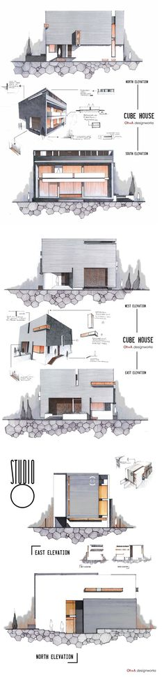 cube house illustration.