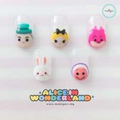 【Alice In Wonderland Tsum Tsum Nails】 Mad Hatter, White Rabbit, Alice, Little Oyster and Cheshire Cat Disney Manicure, Nail Manicure, Nail Art Designs Videos, Nail Designs, Marvel Nails, Alice In Wonderland Nails, Stem Challenge, Nails Today, Nails For Kids