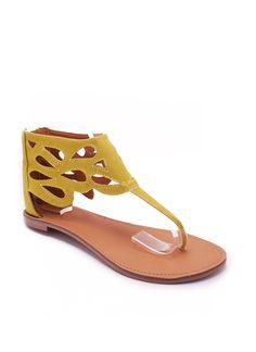 Velvet t-strap sandal with teardrop cutouts