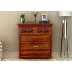 Buy Cambrey Chest of Drawers (Honey Finish) Online in India - Wooden Street Wooden Street, Acacia Wood, Dresser As Nightstand, Chest Of Drawers, Storage Solutions, Bedroom Furniture, Teak, Printing On Fabric, Living Room Decor