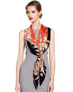 Gold Leaves Women Silk Satin Scarf 90*90cm Screen Print Hand Roll