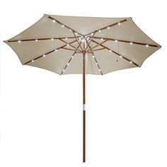 Yescom 9ft Wooden Outdoor Patio Umbrella Sunshade Gazebo Market Garden Pool w/ 40 LEDs White Light
