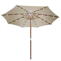 Yescom 9ft Wooden Outdoor Patio Umbrella Sunshade Gazebo Market Garden Pool w/ 40 LEDs White Light
