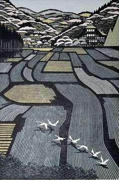 Swans over rice fields - Ray Morimura's woodblock print