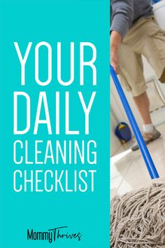 Cleaning is not my favorite task but having this daily cleaning checklist actually saves me time and keeps my house cleaner longer so I do less of it. Diy Cleaning Products, Cleaning Hacks, Bedroom Ideas Master On A Budget, Daily Cleaning Checklist, Baking Soda Cleaning, Clean My House, Bookshelves Kids, Work From Home Tips, Busy Life
